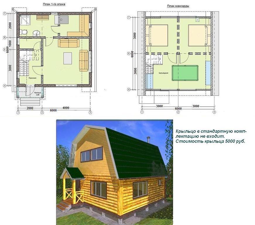 Гостевой дом - баня из бревна 5.5х5.5м, с рубленной мансардой, террасой 1.75х5.5м и балконом (сруб-15